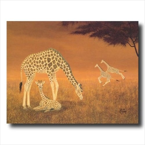Art African Giraffe Family Animal Wildlife Wall Picture Art Print