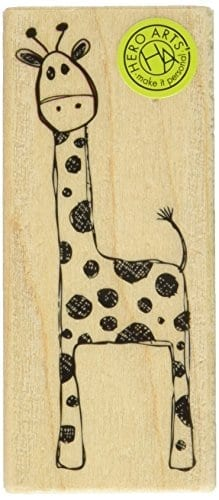 Hero arts playful giraffe mounted rubber stamp 3 5 by 1 for Rubber stamps arts and crafts