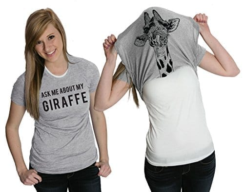 b724cf3b Women's Ask Me About My Giraffe T Shirt Funny Costume Flip Up Shirt -XL