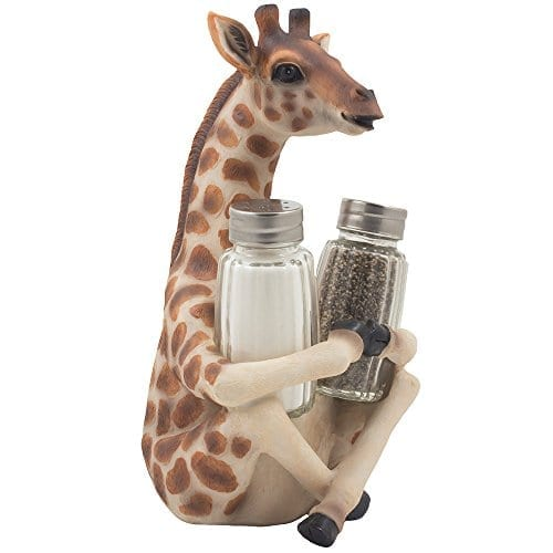 Decorative Giraffe Salt And Pepper Shaker Set With Display Stand Holder Figurine For African Jungle Safari Kitchen Decor Statuettes Sculptures As Spice Racks With Zoo Animal Decorations As Great Art Gifts