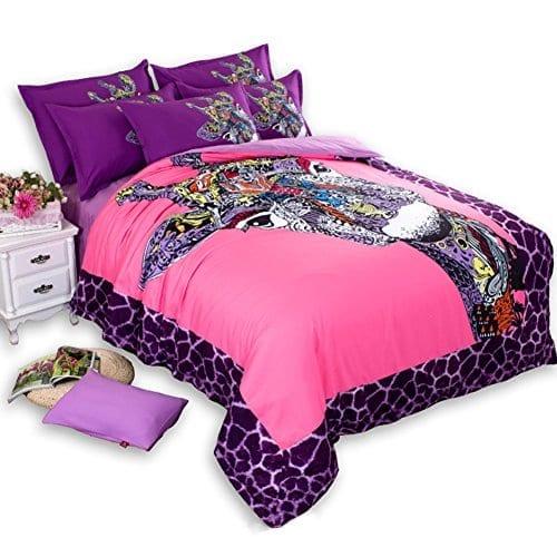Memorecool 4pc Colorful Giraffe Girly Full Bedding Set