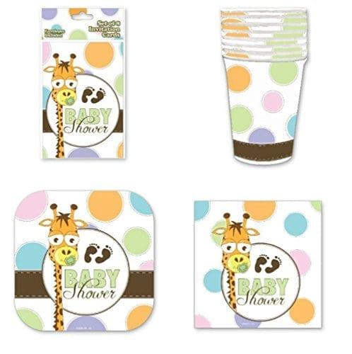 Baby Shower Party Pack Giraffe ...  sc 1 st  Giraffe Things & Baby Shower Party Pack Giraffe and Footprint Design - 8 Each ...