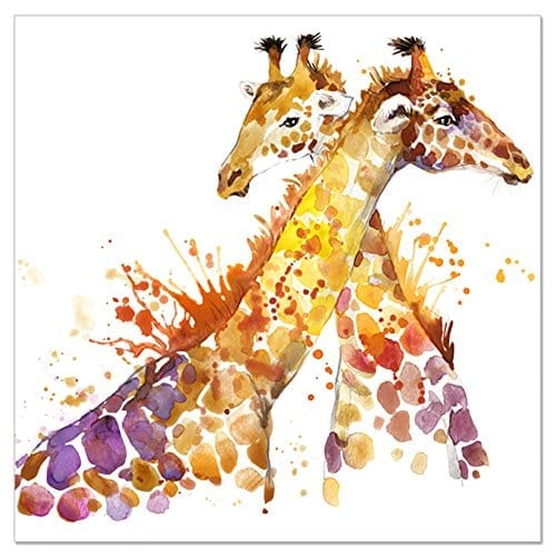Abstract Giraffe Watercolor Painting Print On Canvas 20